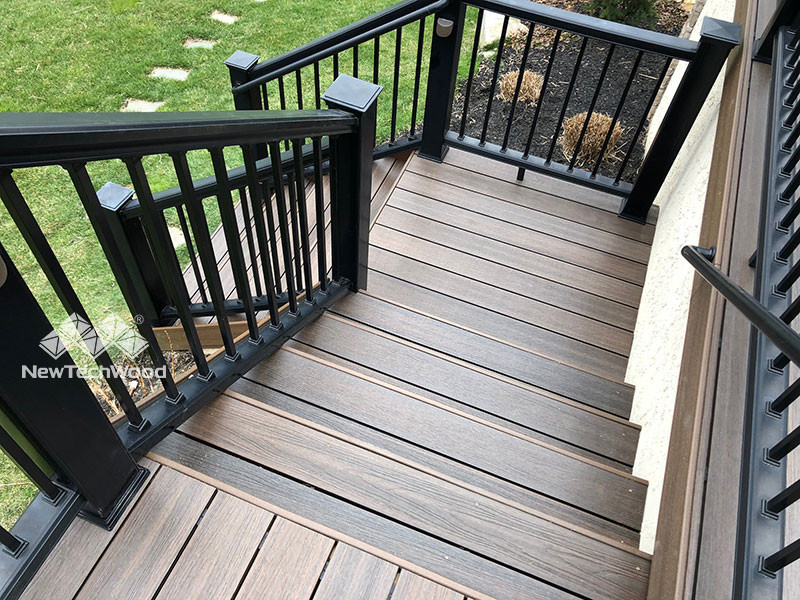 NewTechWood outdoor stairway with railing