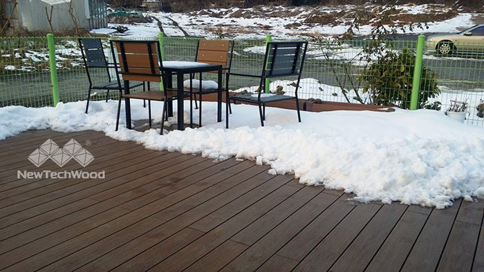 Don't use shovel to scoop snow off the composite decks